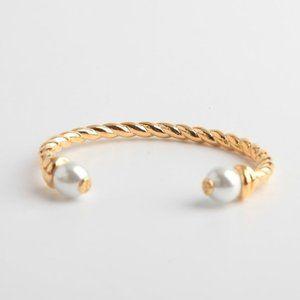 Tory Burch Double Pearl Opening Bracelet